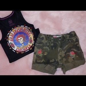 Grateful dead tank and distressed camoflage shorts
